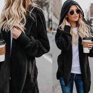 Sweaters - Sherpa teddy fleece plush black hooded cardigan
